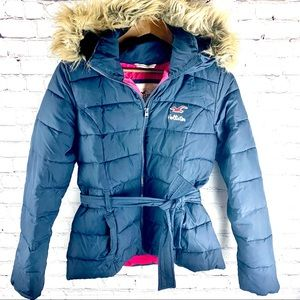 Hollister Blue Puffer Jacket with Furry Hood